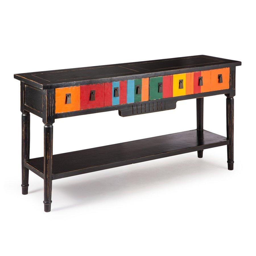 Zuo Modern Vidal Multicolor/Distressed Black Poplar Rectangular Console and Sofa Table