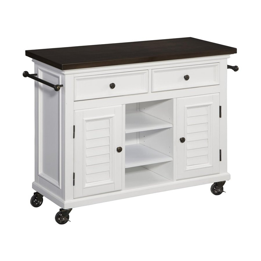 Shop Home Styles 44 5 In L X W X 32 In H Brushed White Kitchen Island With Casters At