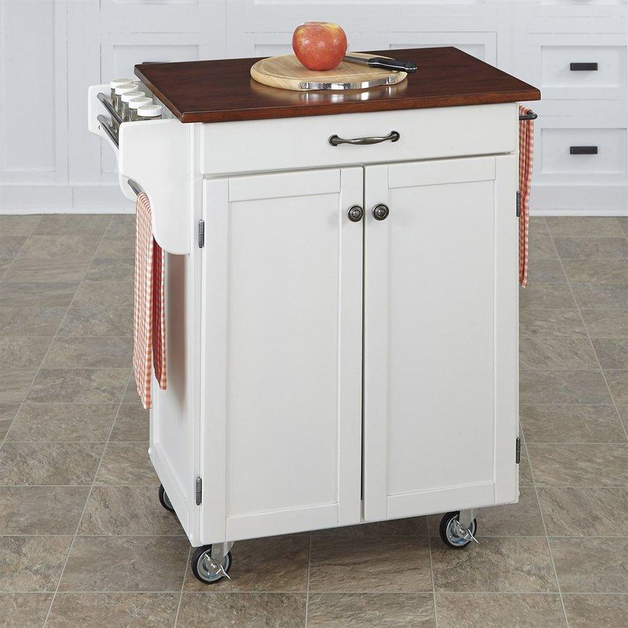 Shop Home Styles White Farmhouse Kitchen Islands At Lowes Com: Shop Home Styles White/Cherry Rectangular Kitchen Cart At