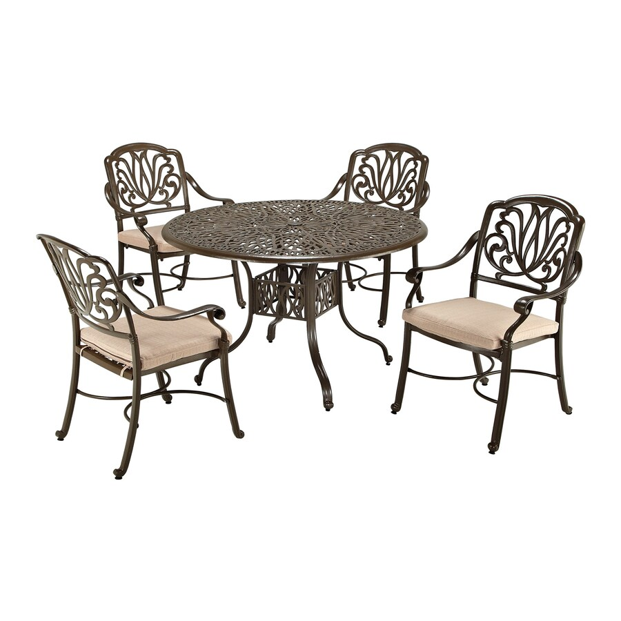 Home Styles Floral Blossom 5-Piece Taupe Aluminum Patio Dining Set