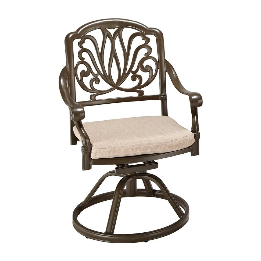 Home Styles Floral Blossom Taupe Aluminum Patio Dining Chair