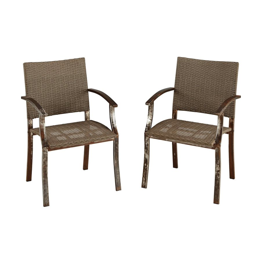 Home Styles Urban Outdoor 2-Count Aged Metal Woven Vinyl Patio Dining Chair