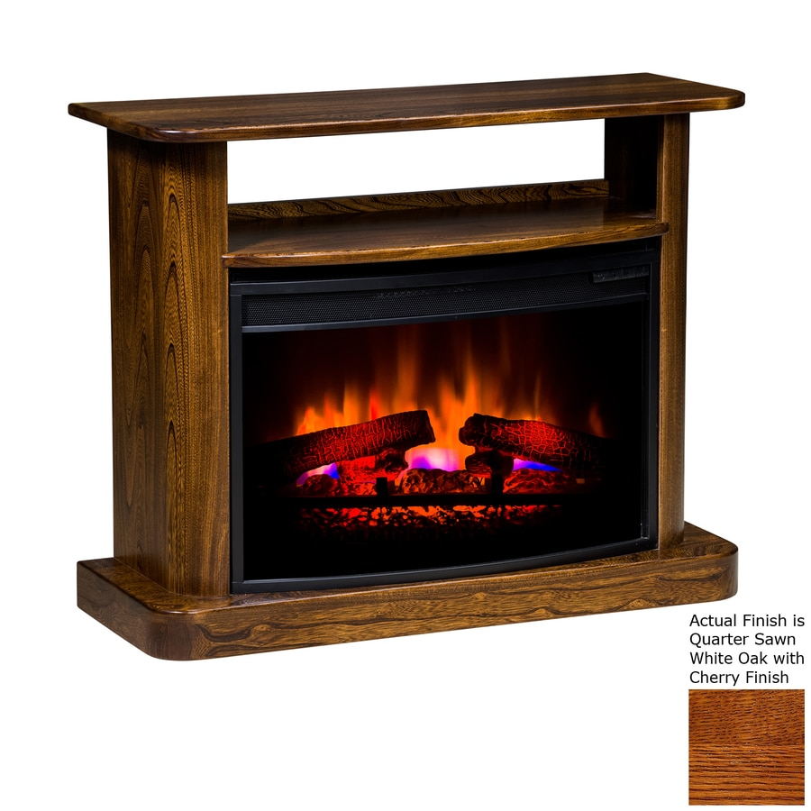 Topeka Innovative Concepts 37.5-in W 4,436-BTU Quarter Sawn White Oak with Cherry Wood LED Electric Fireplace with Thermostat and Remote Control