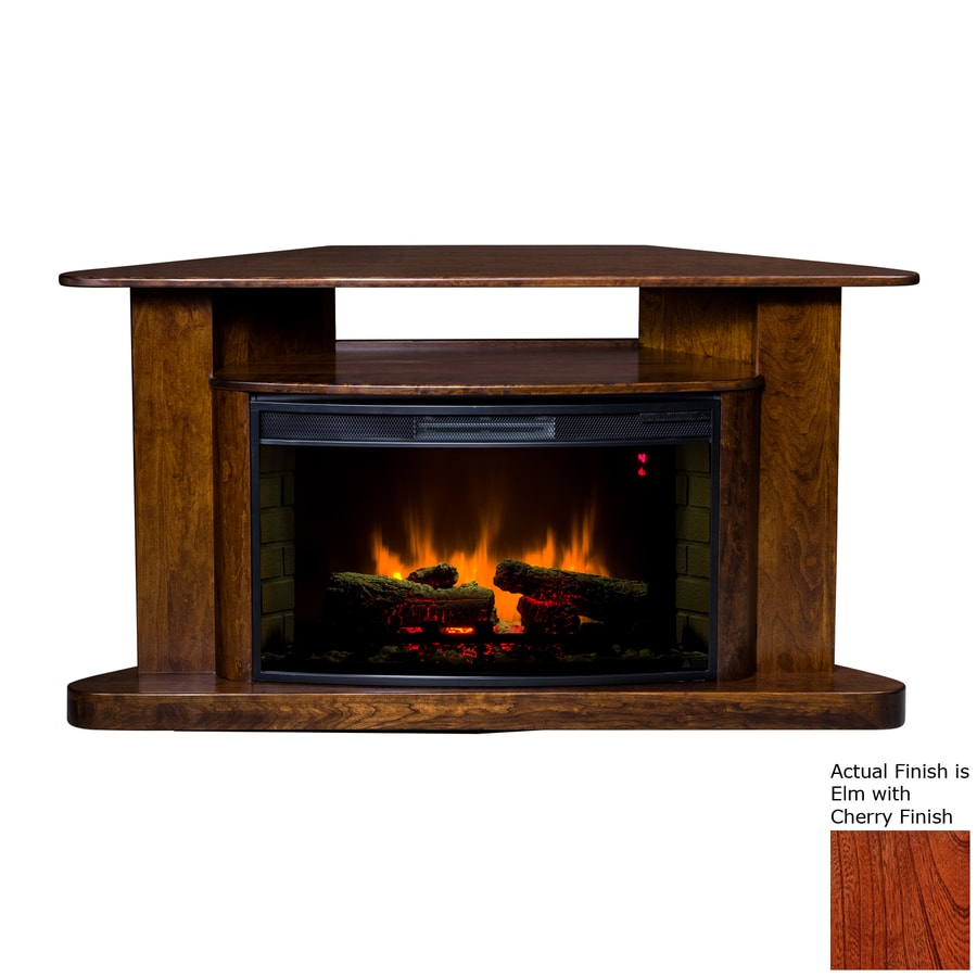 Topeka Innovative Concepts 54-in W 4770-BTU Elm with Cherry Wood Corner LED Electric Fireplace with Thermostat and Remote Control
