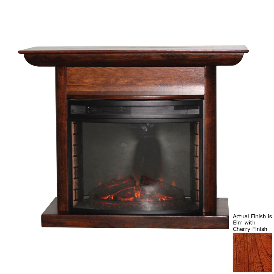 Topeka Innovative Concepts 46.5-in W 4770-BTU Elm with Cherry Wood LED Electric Fireplace with Thermostat and Remote Control