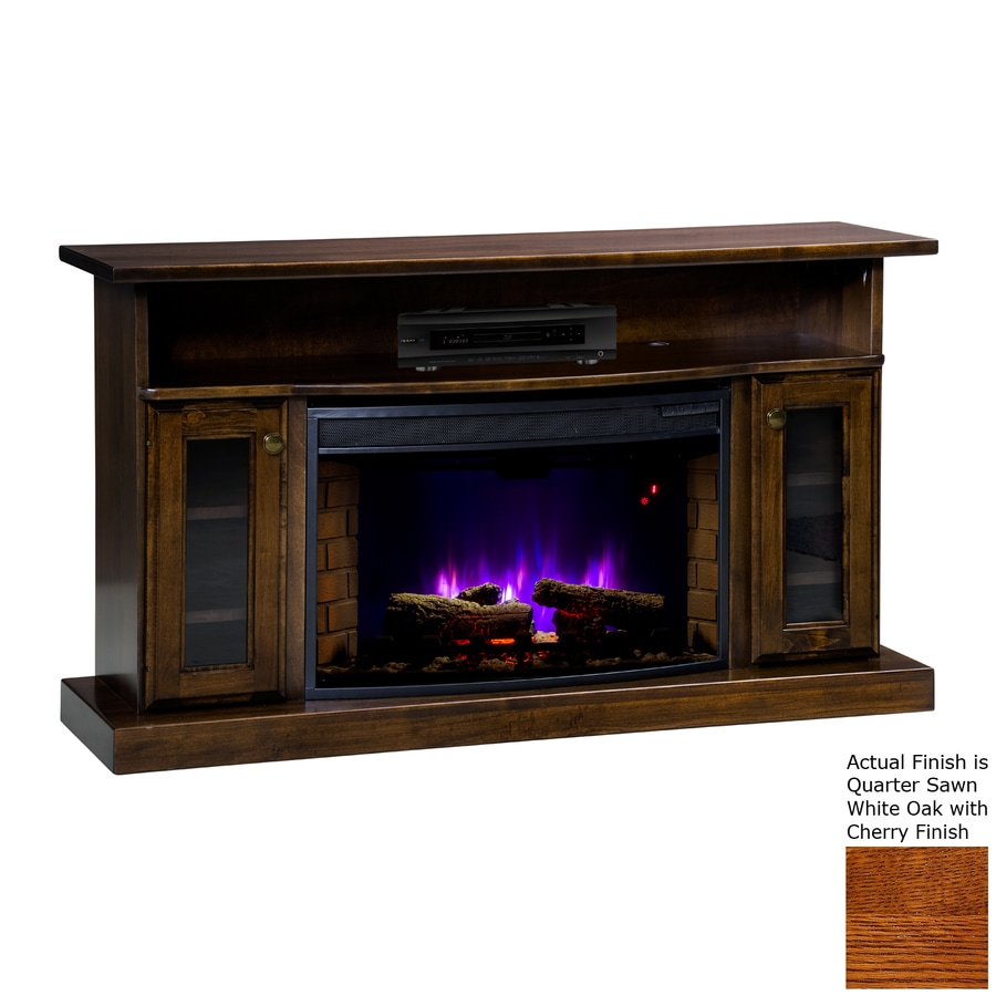 Topeka Innovative Concepts 49.5-in W 4770-BTU Quarter Sawn White Oak with Cherry Wood LED Electric Fireplace with Thermostat and Remote Control