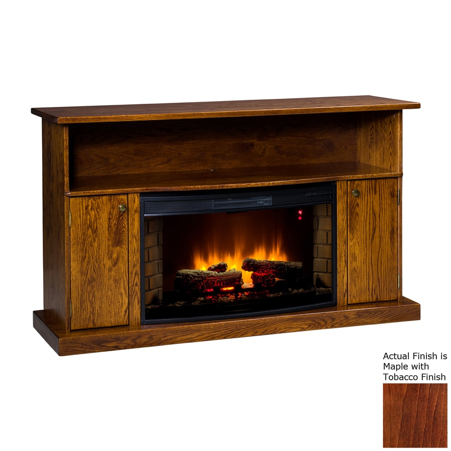 Topeka Innovative Concepts 60-in W 4770-BTU Maple with Tobacco Wood LED Electric Fireplace with Thermostat and Remote Control