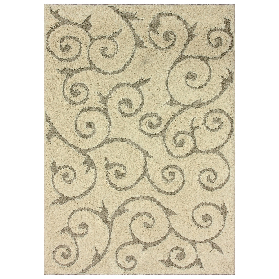 nuLOOM Cream Rectangular Indoor Shag Area Rug (Common: 7 x 9; Actual: 79-in W x 108-in)