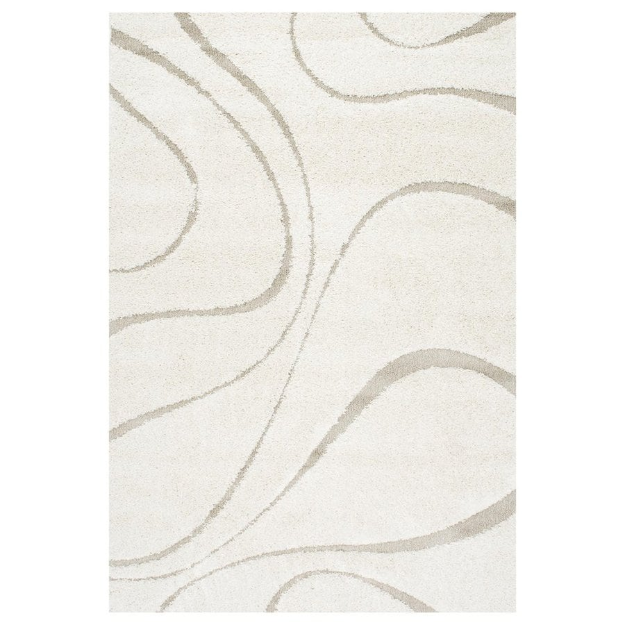 nuLOOM Cream Rectangular Indoor Shag Area Rug (Common: 5 x 8; Actual: 63-in W x 90-in)