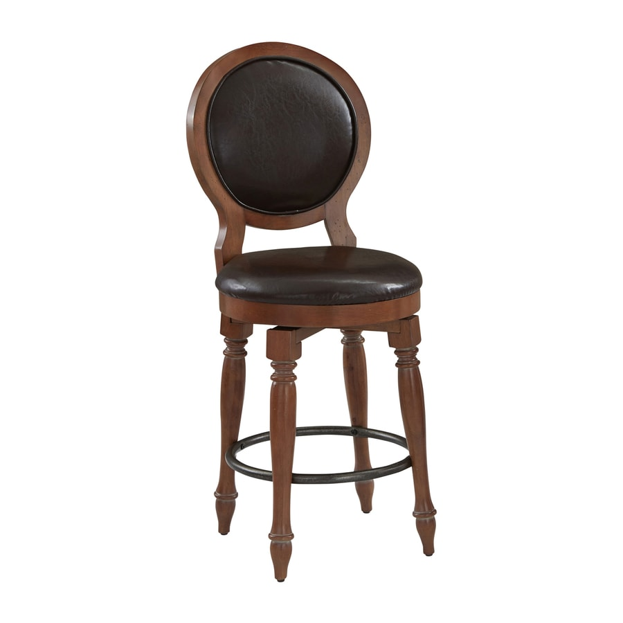 Home Styles Americana Vintage Distressed Natural Acacia/Dark Brown 24-in Counter Stool