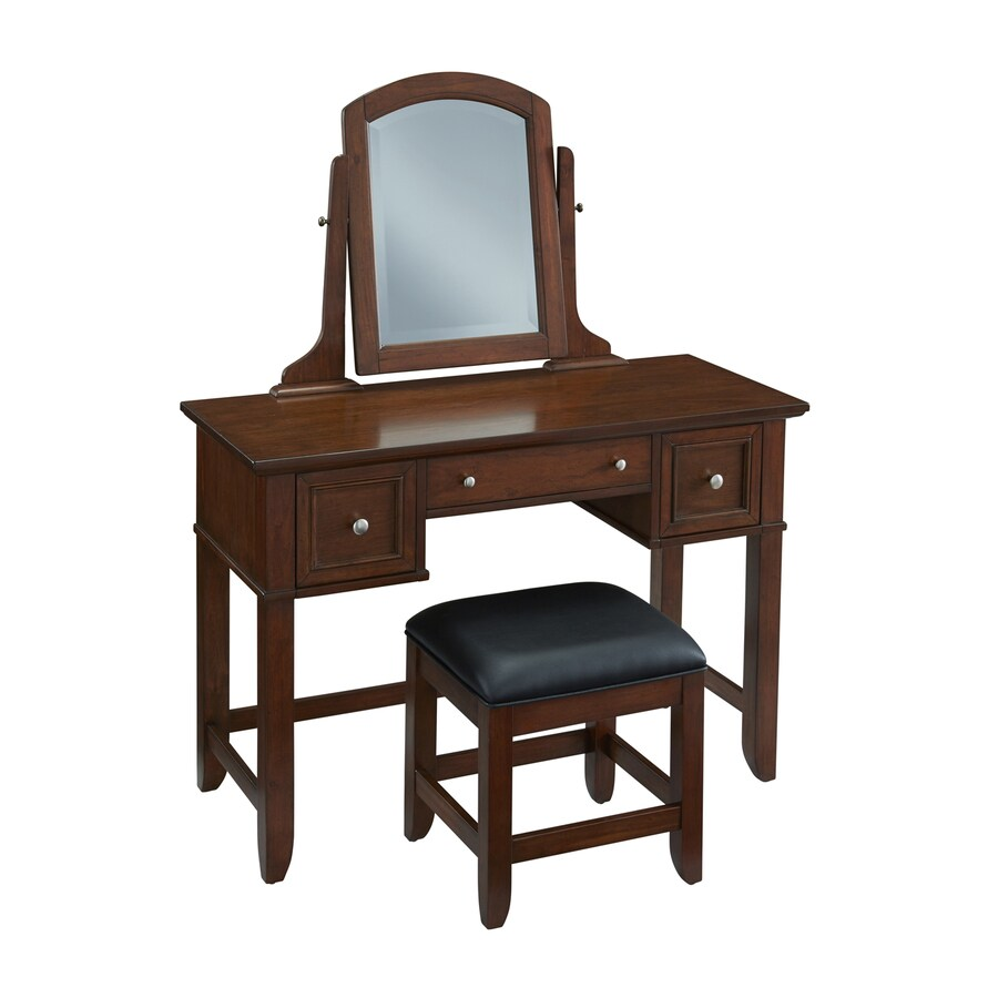 Shop Home Styles Chesapeake Cherry/Black Makeup Vanity With Stool At Lowes.com
