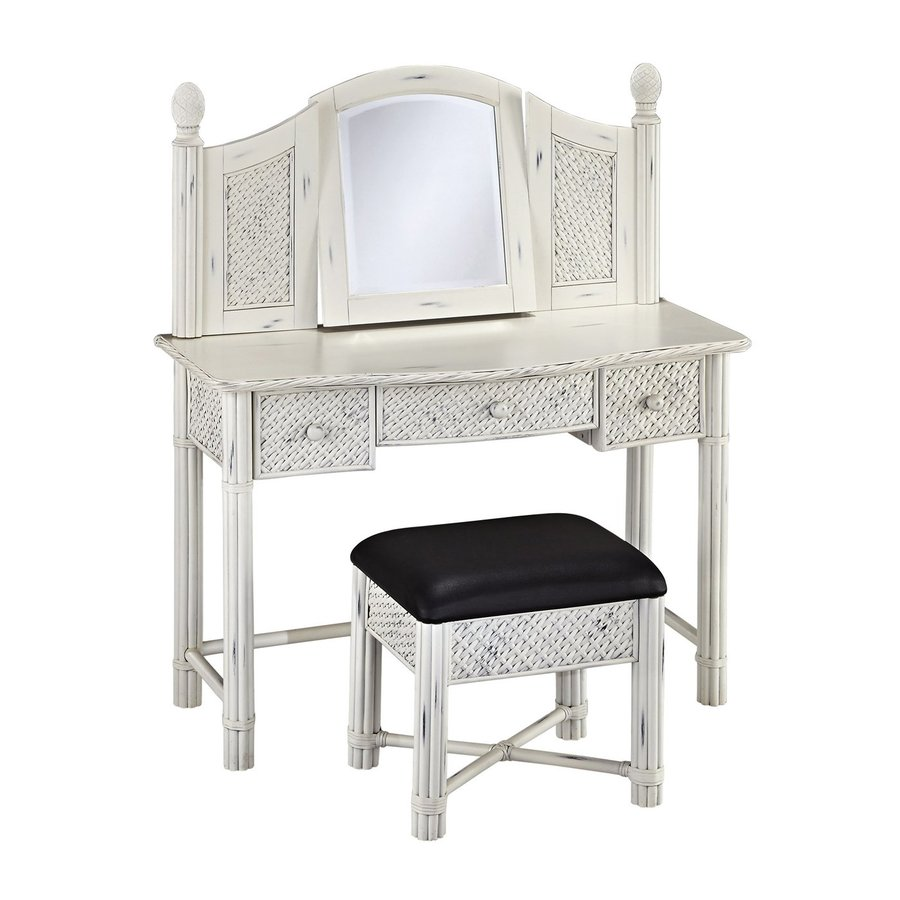 Home Styles Marco Island Rubbed White/Black Makeup Vanity and Stool