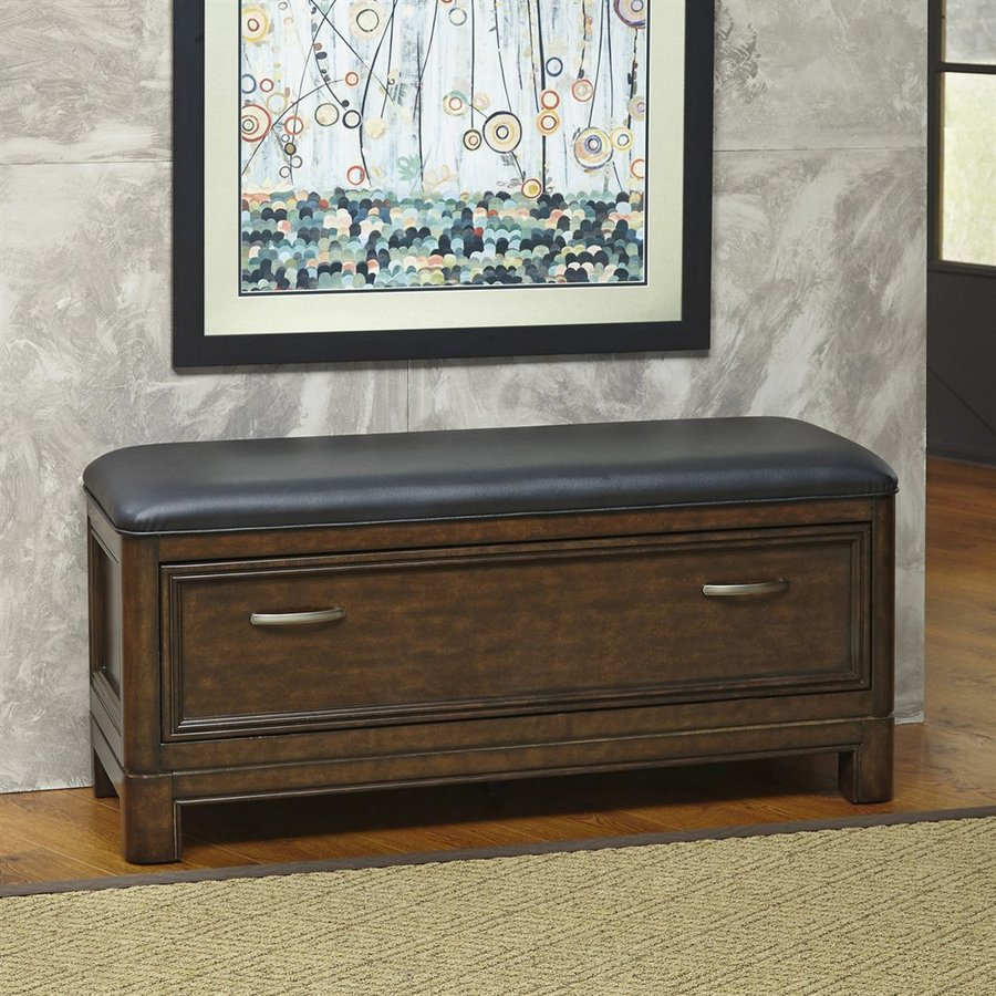 Home Styles Crescent Hill Two-Tone Tortoise Shell/Black Indoor Storage Bench