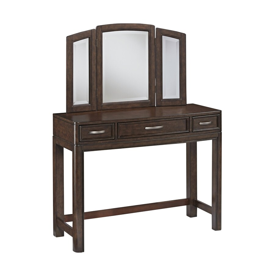 Home Styles Crescent Hill Two-Tone Tortoise Shell Makeup Vanity