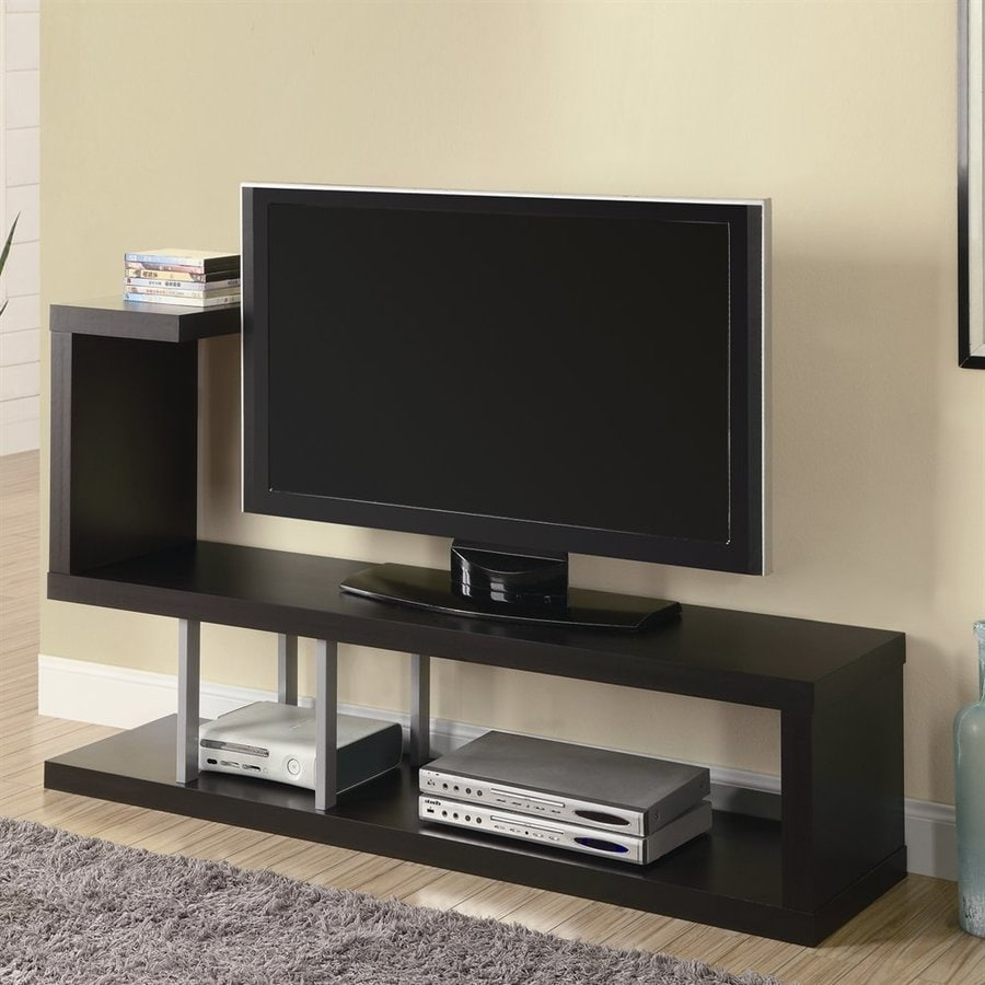 Monarch Specialties Cappuccino Rectangular Pedestal Television Stand