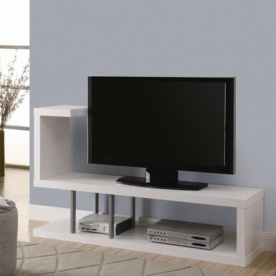Monarch Specialties White Rectangular Pedestal Television Stand