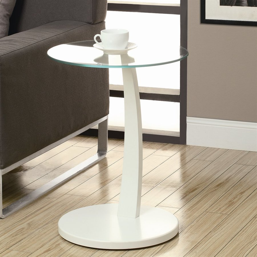 Monarch Specialties White/Glass Round End Table