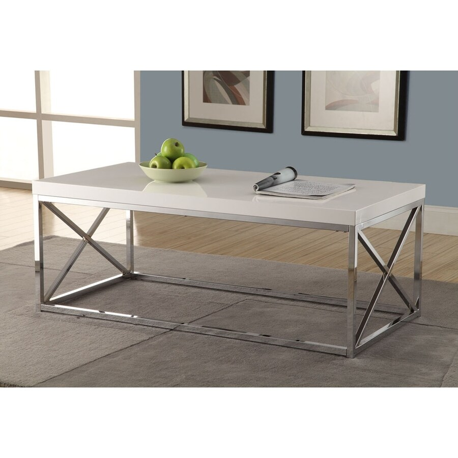 Monarch Specialties White Rectangular Coffee Table