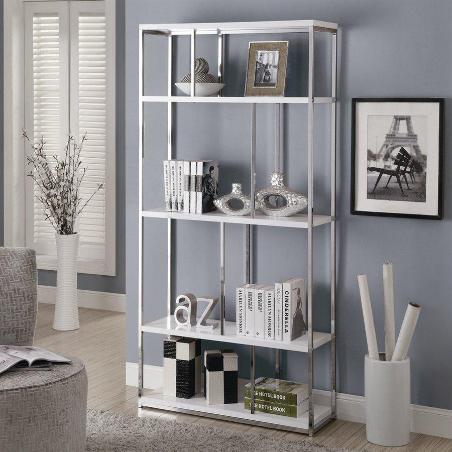 Monarch Specialties White 35.75-in W x 72-in H x 11.75-in D 4-Shelf Bookcase