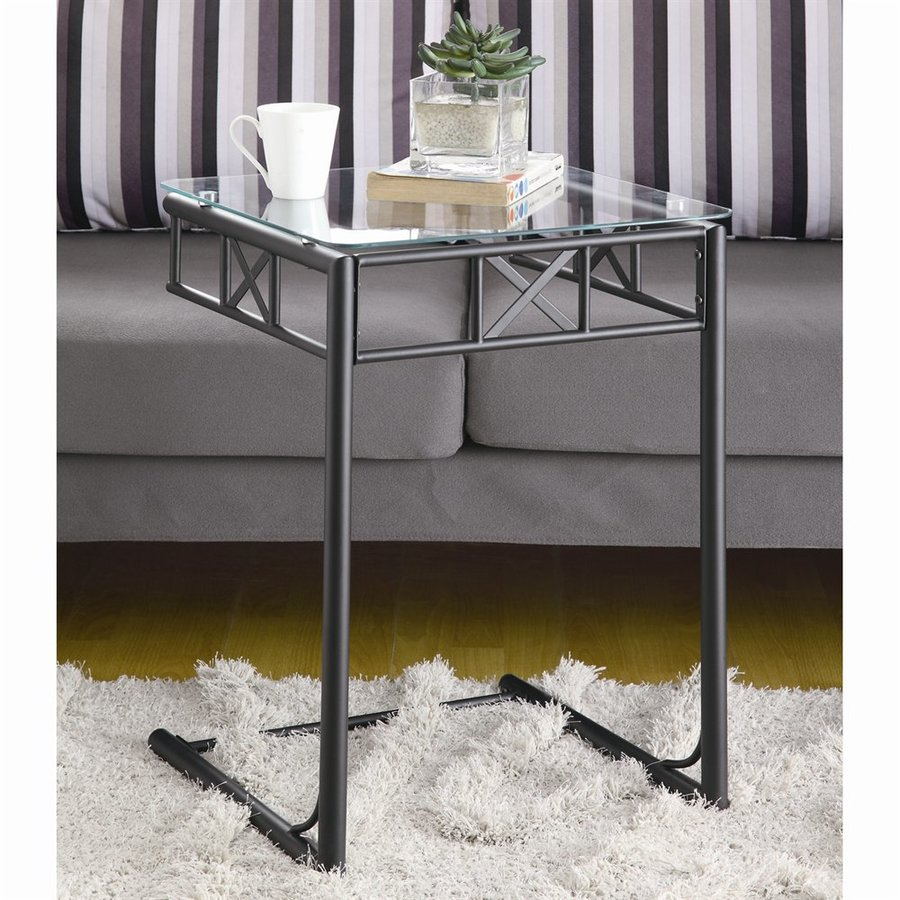 Monarch Specialties Black/Glass Square End Table