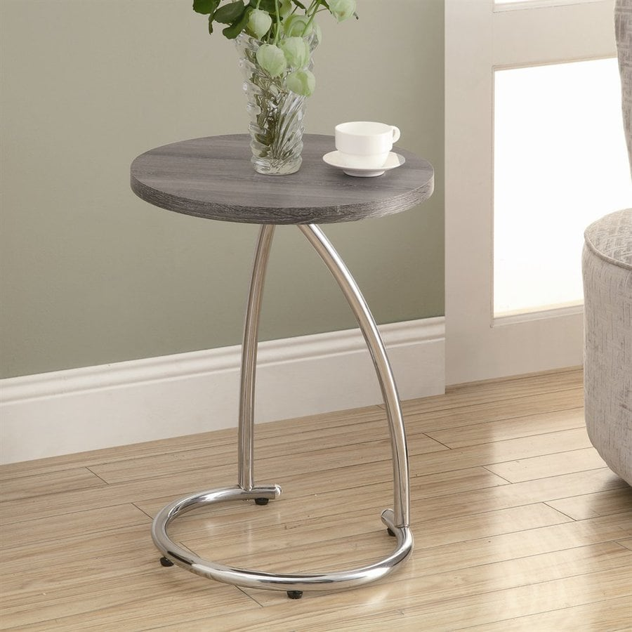 Monarch Specialties Dark Taupe Round End Table