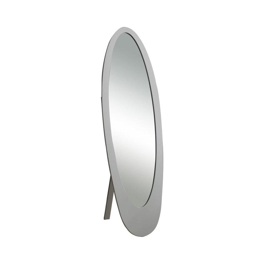 Monarch Specialties 19-in x 59-in Grey Oval Framed Floor Mirror