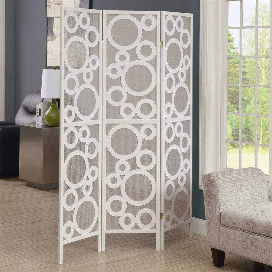 Monarch Specialties 3-Panel White Wood and Fabric Folding Indoor Privacy Screen