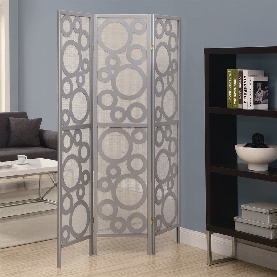 Monarch Specialties 3-Panel Silver Wood and Fabric Folding Indoor Privacy Screen
