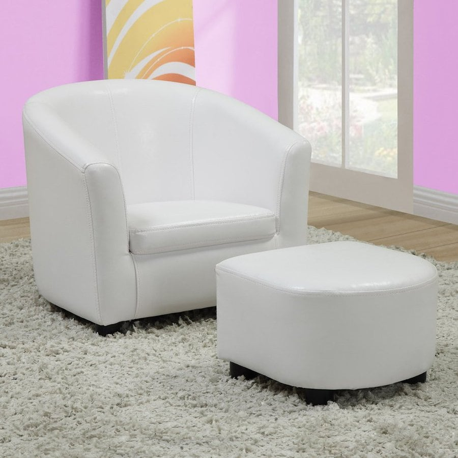 Monarch Specialties 18.5-in White Upholstered Kids Chair