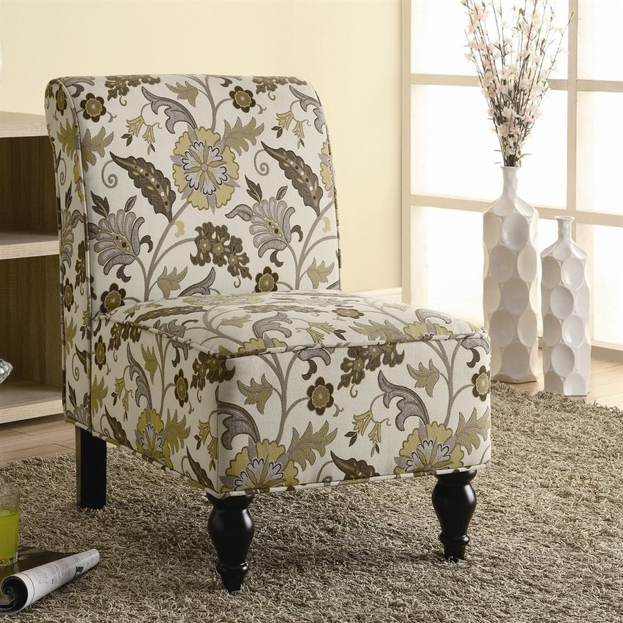 Monarch Specialties Brown/Gold Floral Fabric Accent Chair