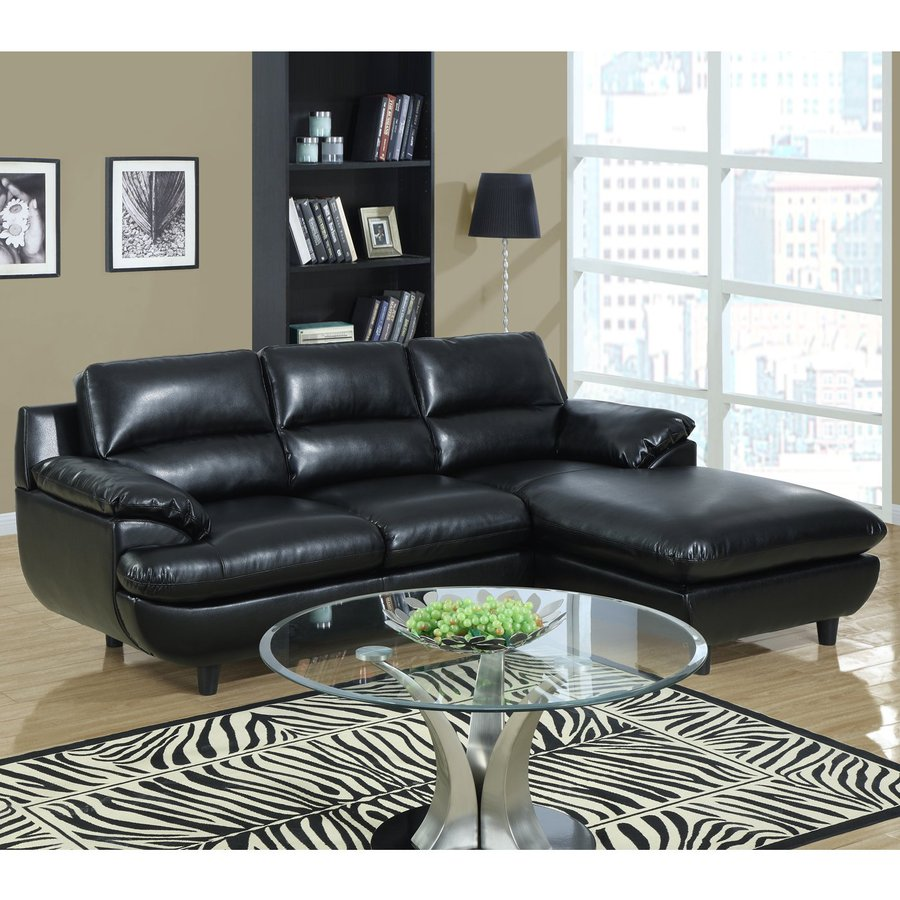 Monarch Specialties 2-Piece Black Bonded Leather Sectional Sofa