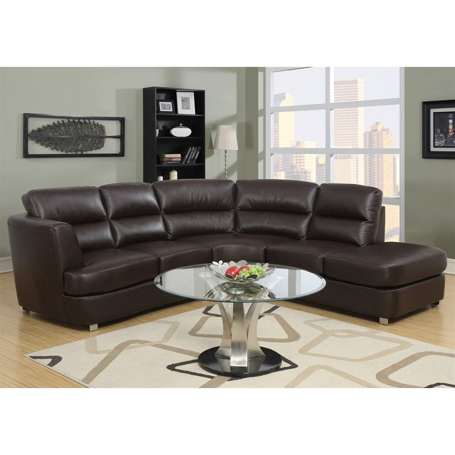 Shop monarch specialties 3 piece dark brown bonded leather for 3 piece brown leather sectional sofa