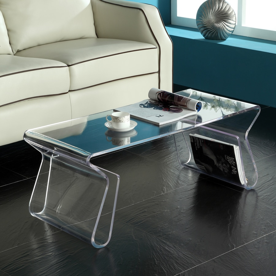 Shop modway clear plastic rectangular coffee table at Acrylic clear coffee table