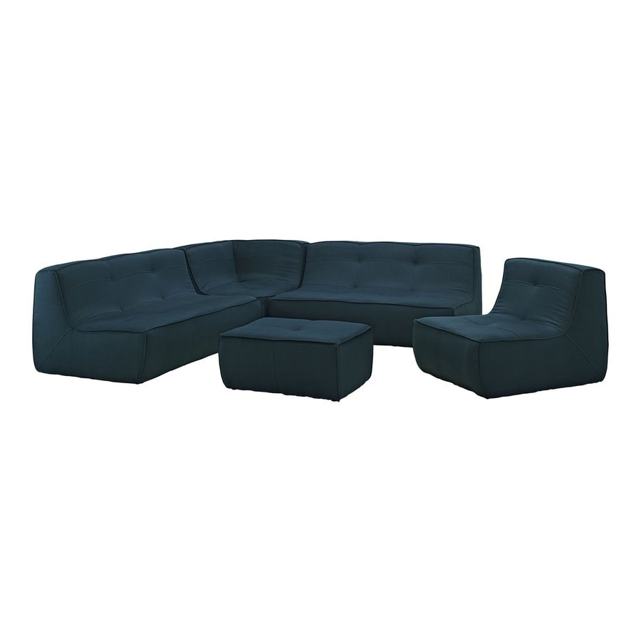 Modway Align 5-Piece Azure Bonded Leather Sectional Sofa