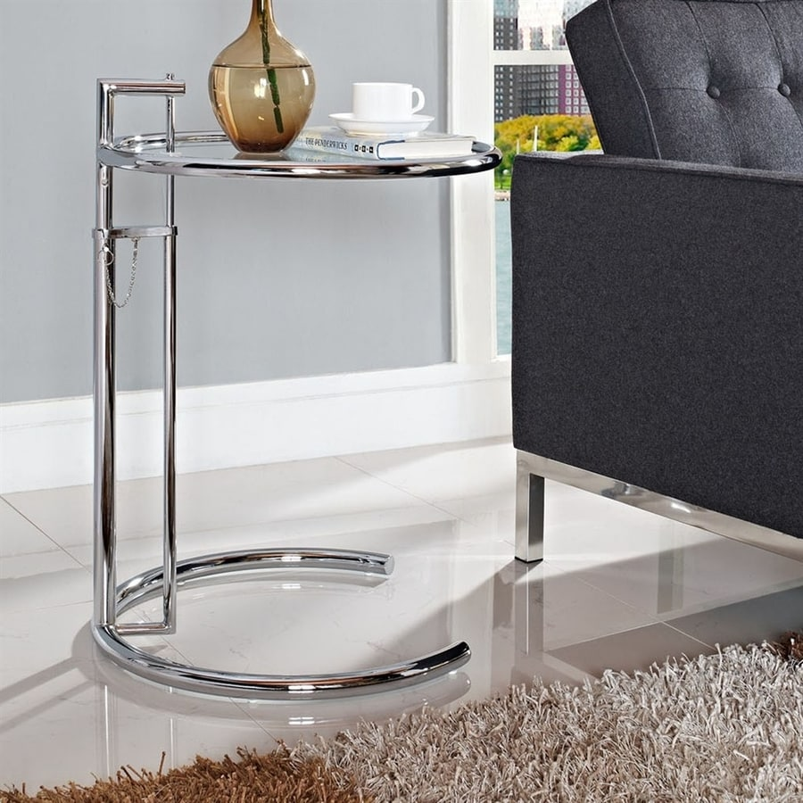 Modway Eileen Silver Metal Round End Table