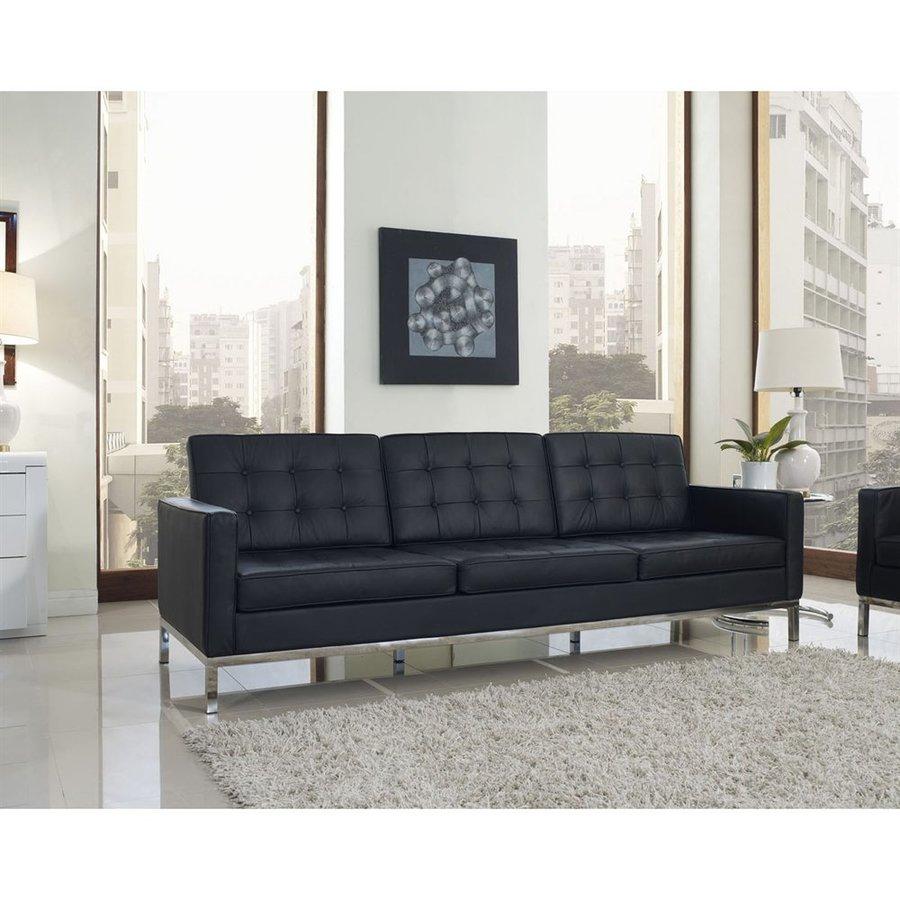 Modway Loft Black Leather Stationary Sofa