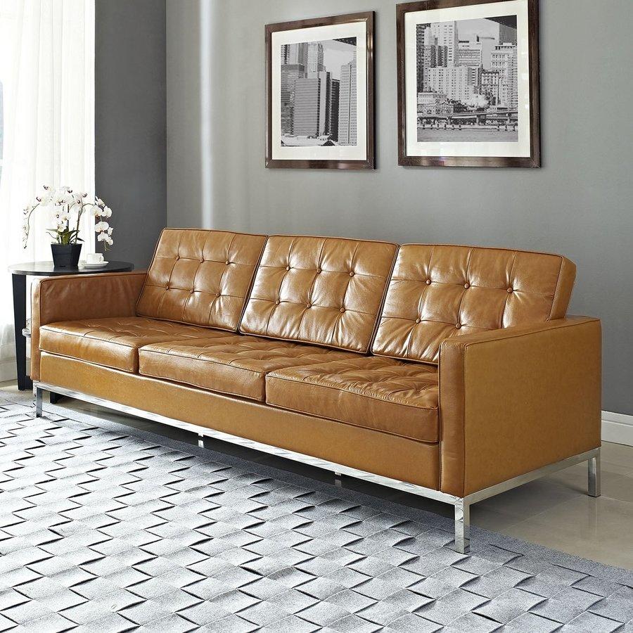 Modway Loft Tan Leather Stationary Sofa