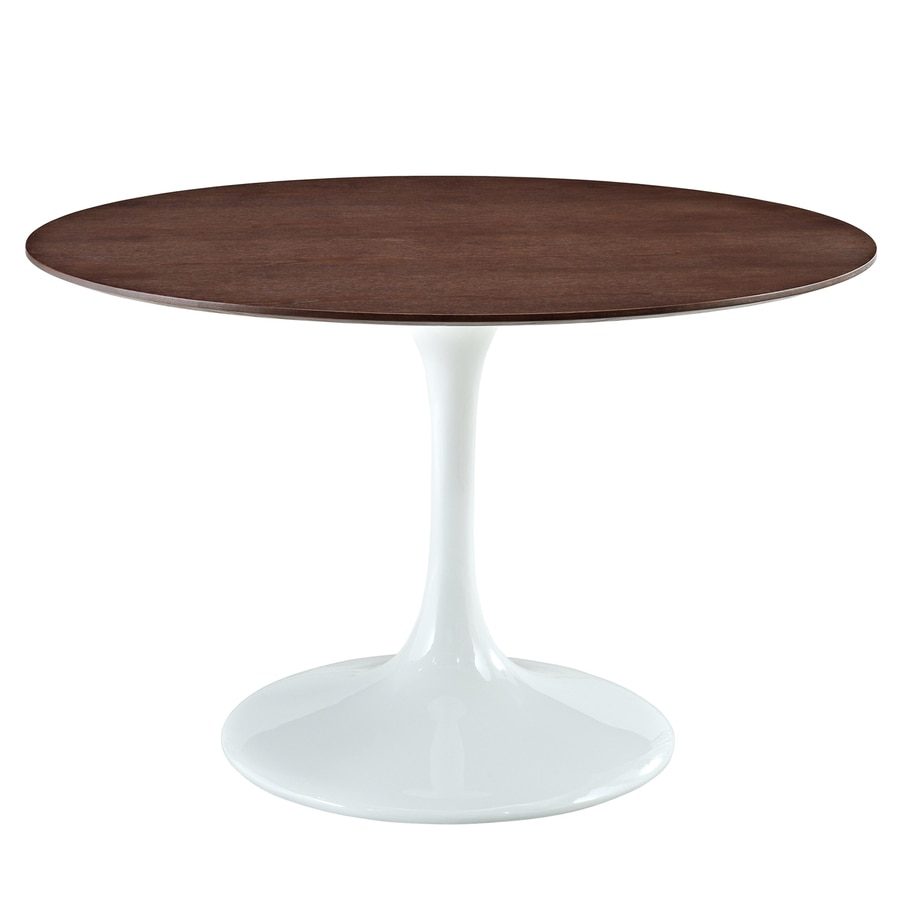 Shop modway lippa gloss white walnut round dining table at for Shop dining tables