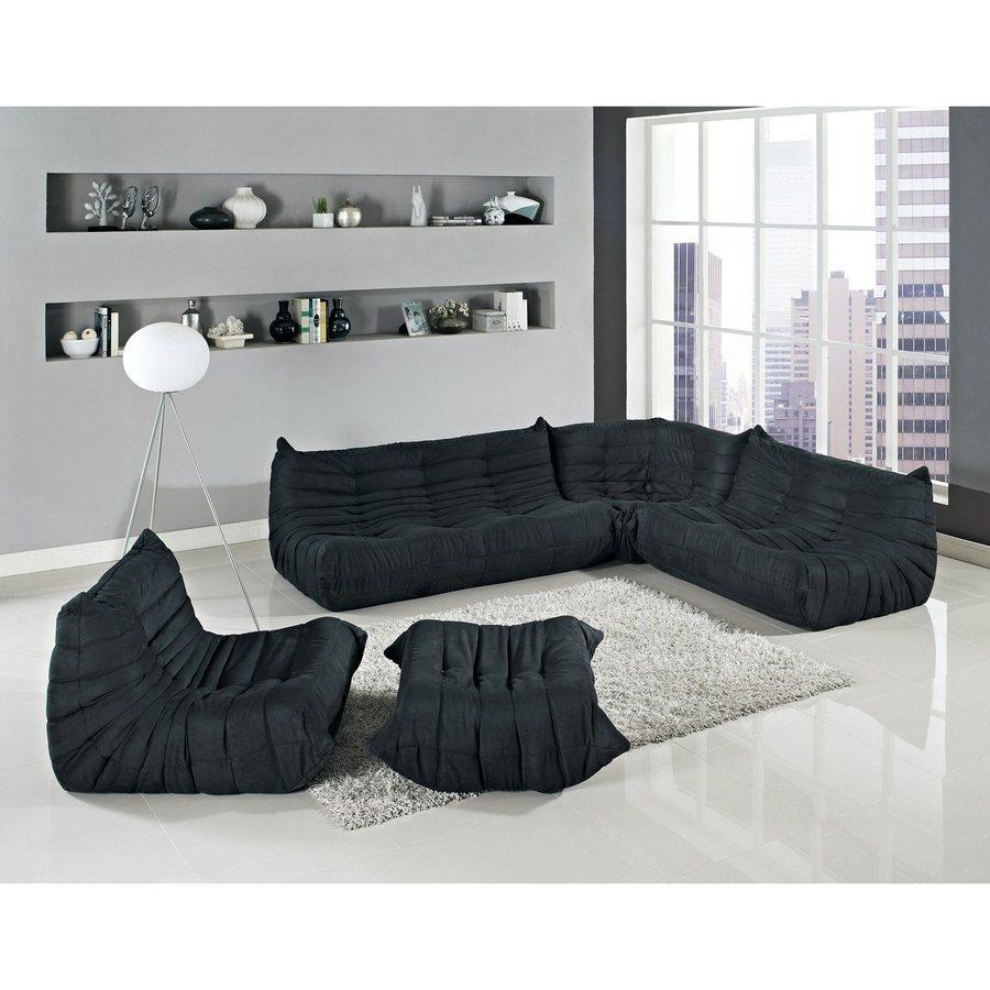 Modway Waverunner 5-Piece Black Microfiber Sectional Sofa