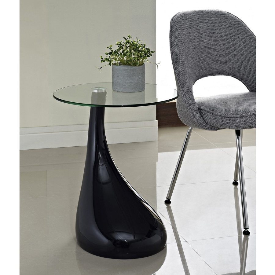 Modway Teardrop Gloss Black Round End Table