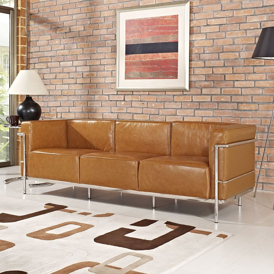 Modway Charles Grande Tan Leather Stationary Sofa