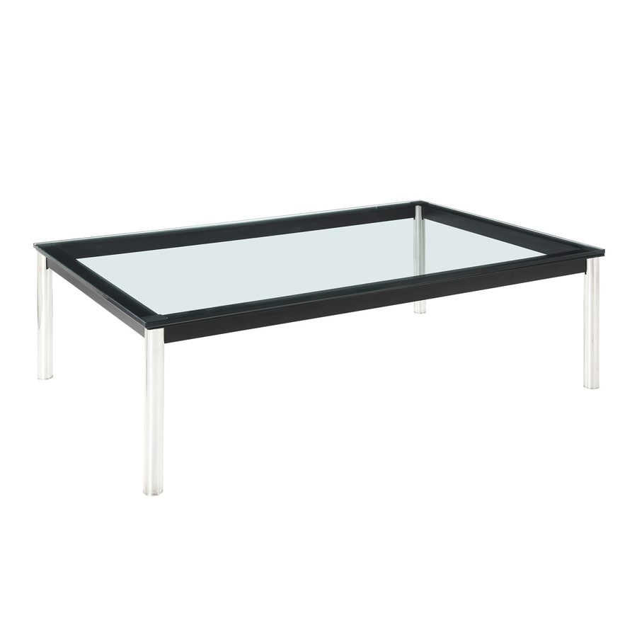 Shop Modway Le Corbusier Black Silver Rectangular Coffee Table At