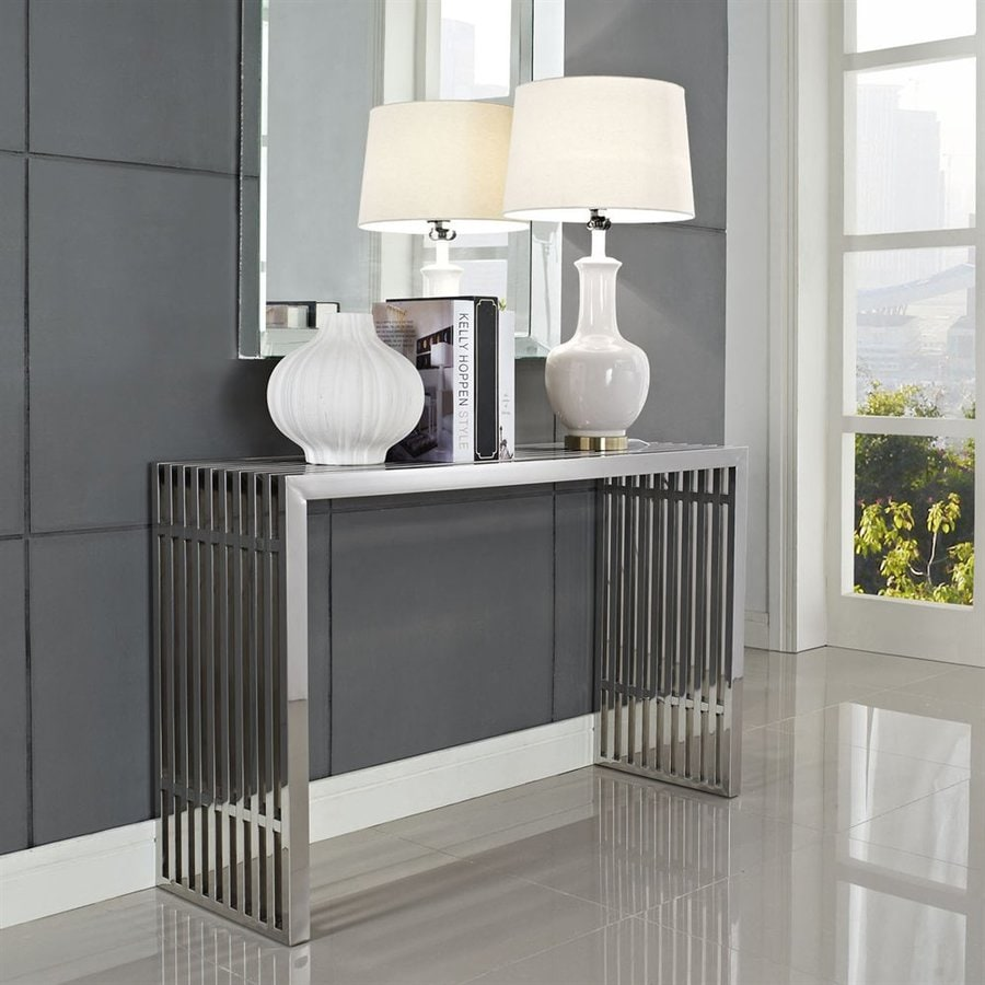 Modway Gridiron Stainless Steel Rectangular Console and Sofa Table