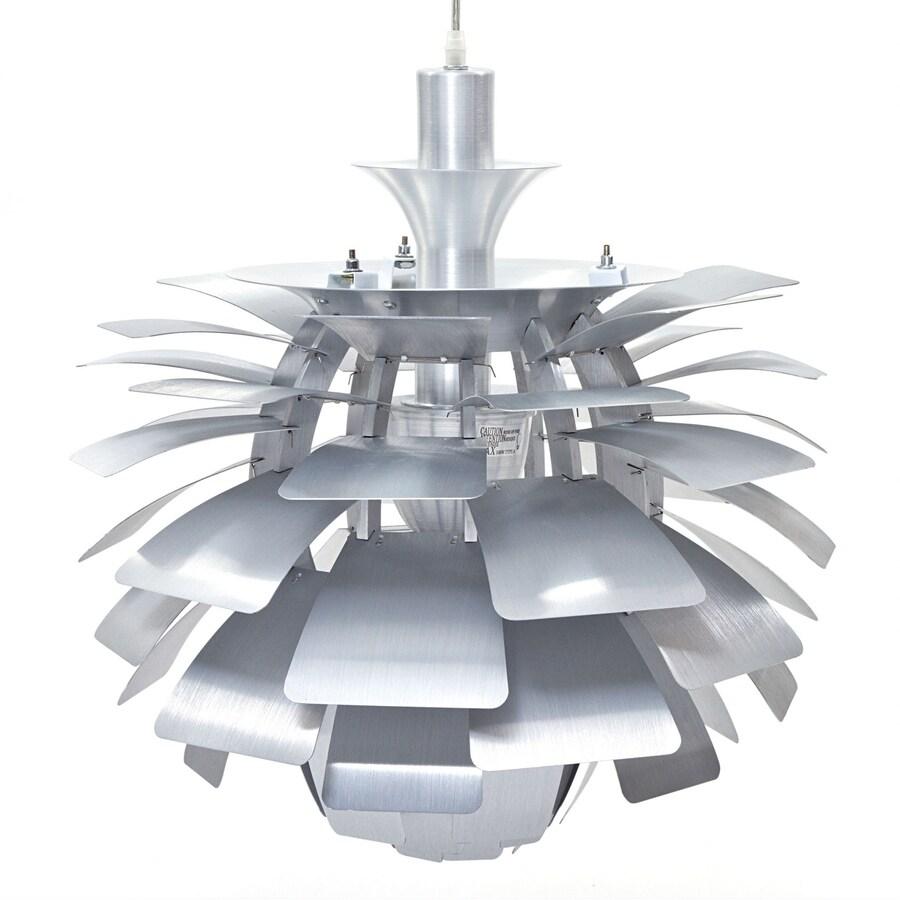 Modway Petal 23.5-in Silver Plug-in Single Geometric Pendant