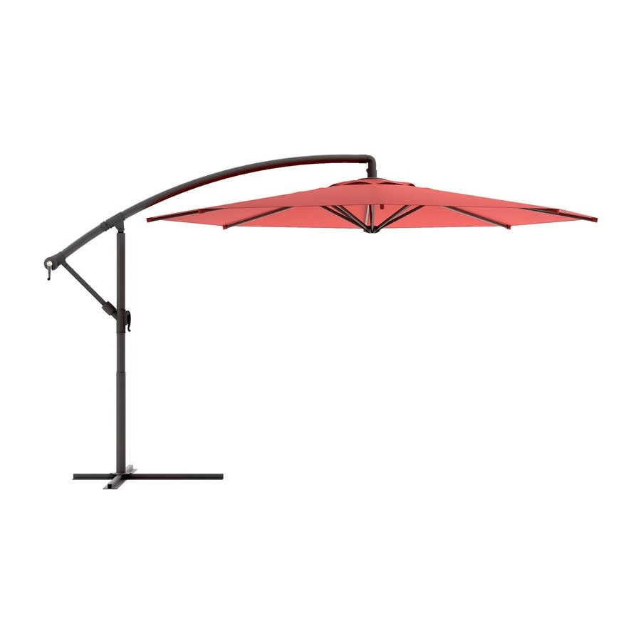 CorLiving CorLiving Wine Red Offset Patio Umbrella with Base (Common: 9.5-ft W x 11-ft L; Actual: 9.58-ft W x 11-ft L)