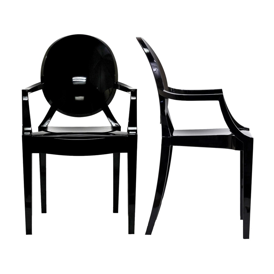 Modway Set of 2 Casper Black Stackable Side Chair