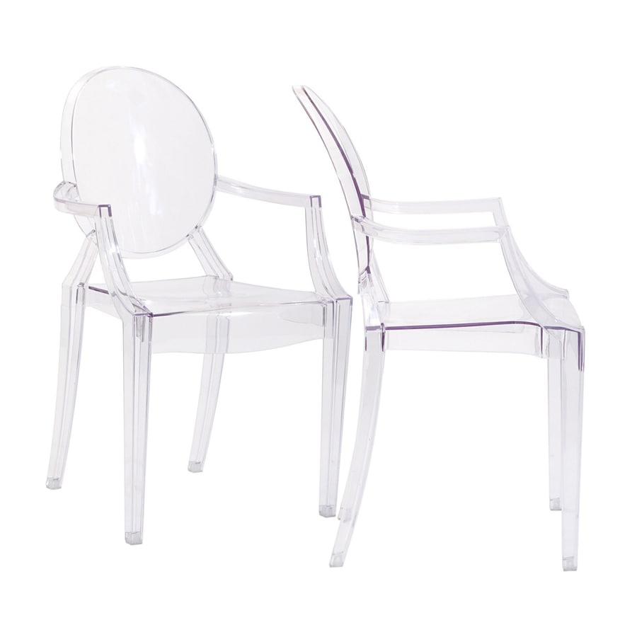 Modway Set of 2 Casper Clear Stackable Arm Chair
