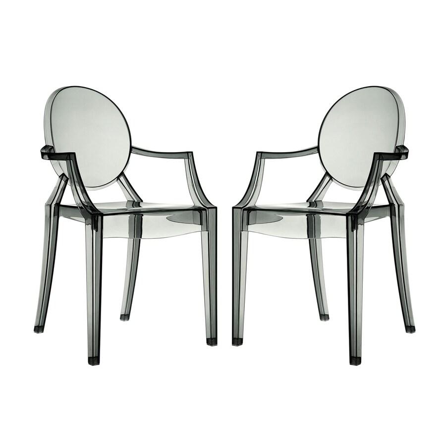 Modway Set of 2 Casper Smoke Stackable Arm Chair