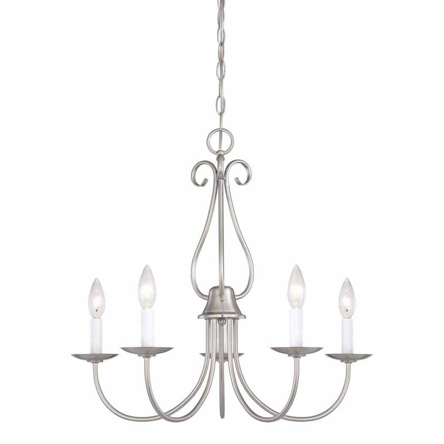 Volume International Minster 22.5-in 5-Light Brushed Nickel Williamsburg Candle Chandelier