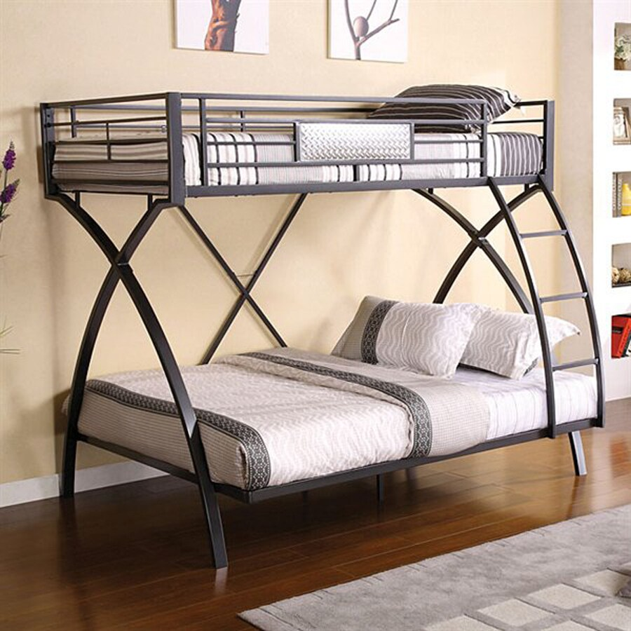 Shop furniture of america apollo chrome dark gray twin for Bunk bed frames for sale